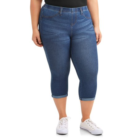 Women's Plus Size Pull on 2 Pocket Stretch Jegging - Capri Pull On Shorts