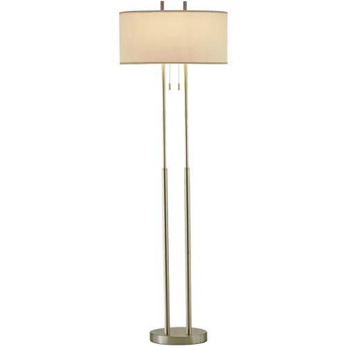 Adesso Duet Floor Lamp, Satin Steel Finish by Adesso Inc