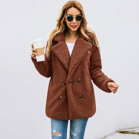 DKJ Women Faux Fur Jacket Fuzzy Teddy Bear Notch Lapels Touble Breasted Buttons Pockets Oversized Casual Coat