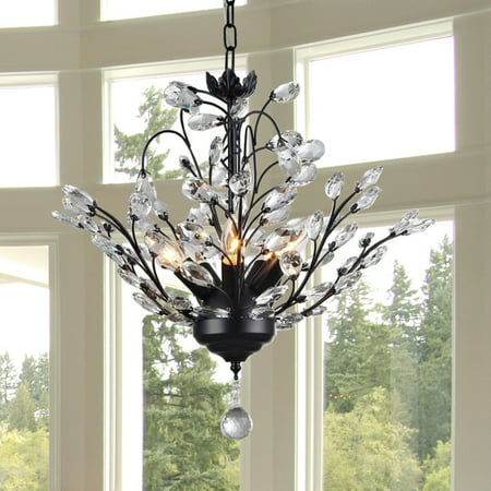 Aria 5-light Black 20-inch Crystal Leaves Chandelier (18 Inch Crystal Chandelier)
