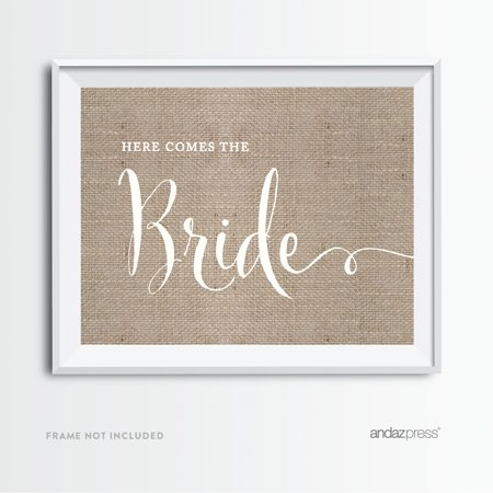 Here Comes The Bride Burlap Wedding Party Signs](Here Comes The Bride Banner)