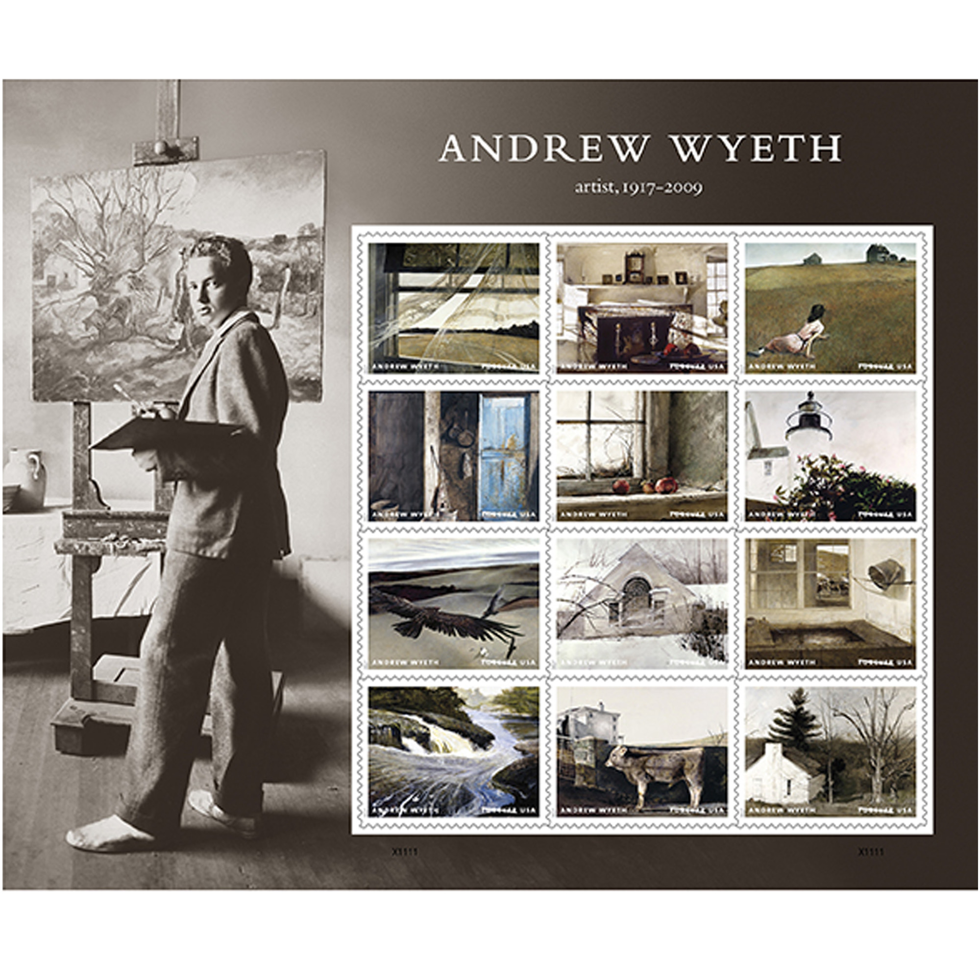 Andrew Wyeth SHeet of 12 Forever USPS First Class Postage Stamps American Artist Paintings by USPS