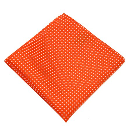 Mens Polka Dot Pocket Square Hanky Accessory - Orange