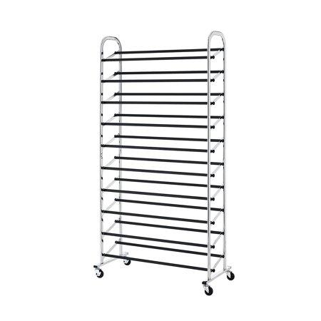 50 Pair Free Standing 10 Tier Shoe Tower Rack Chrome Metal