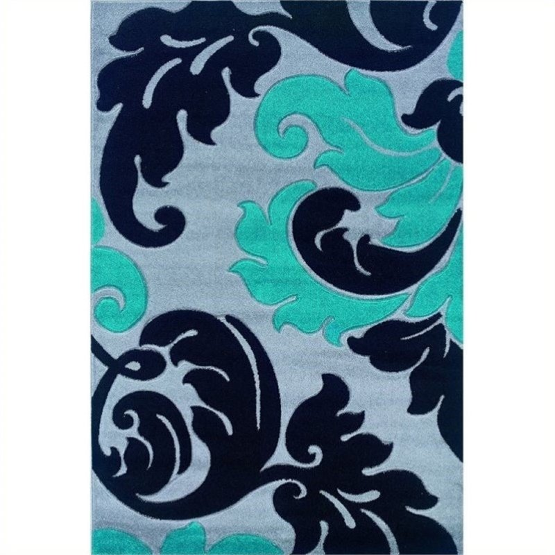 """Hawthorne Collection 1'11"""" x 2'10"""" Kids Area Rug in Gray and Turquoise - image 1 of 1"""