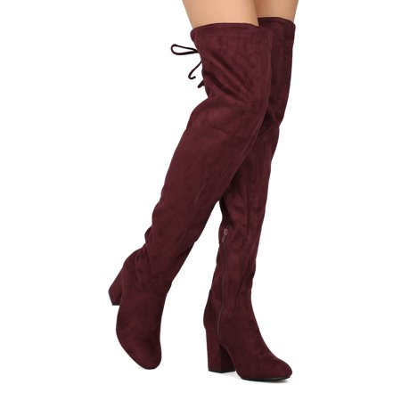 Red Thigh High Boots For Halloween (New Women Refresh Jasmin-01 Faux Suede Thigh High Drawstring Chunky Heel)