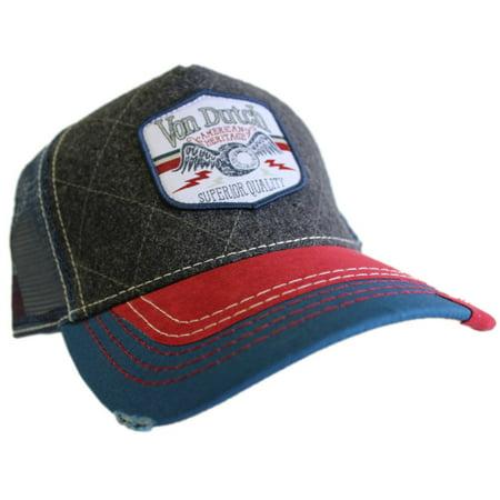 Von Dutch Unisex Shield Patch Trucker Hat, Grey/Navy/Red, OS