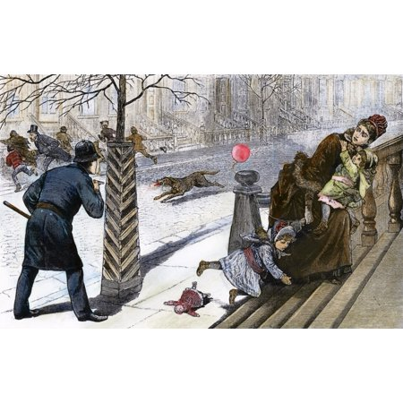 Rabies Epidemic 1886 Nthe Mad Dog Epidemic Scene On An Uptown Avenue In New York City January 1886 Contemporary American Wood Engraving Rolled Canvas Art -  (24 x 36) New Mad Dog
