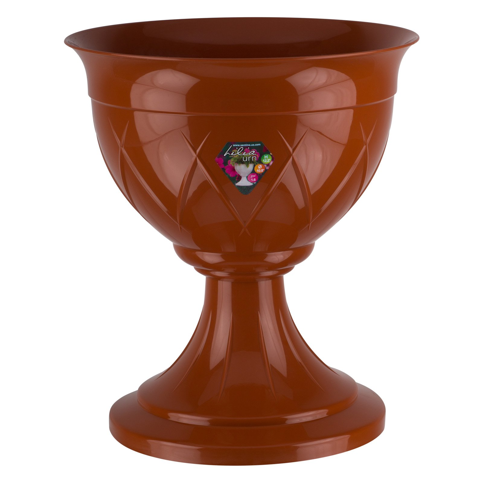 Flower Pot Urn LILIA 12.8 Inch, Terracotta Color by Santino