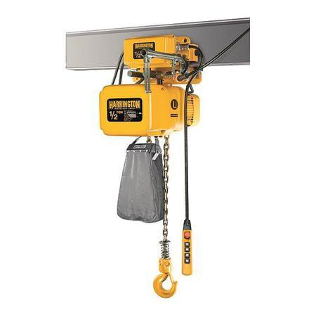 - HARRINGTON NERM005L-L-15 Electric Chain Hoist w/Trolley, 1000 lb.