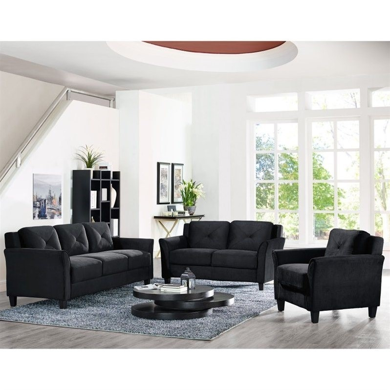 3 piece couch set black sectional leather lifestyle solutions hartford piece microfiber sofa set in black