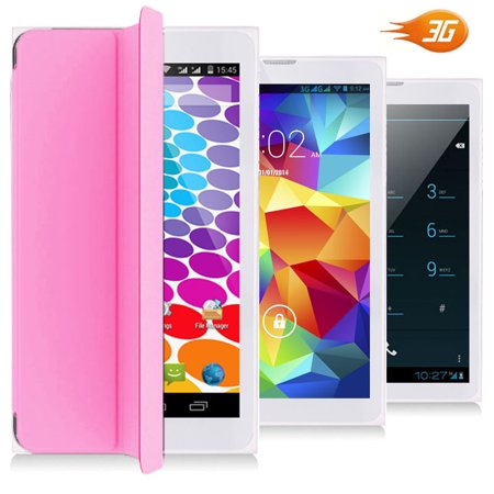 Indigi® 7inch Factory Unlocked 3G Smart Phone 2-in-1 Phablet Android 4.4 Tablet PC w/ Built-in Smart Cover (Pink)