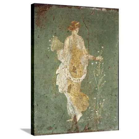 Roman Art : Spring, Flora Picking Flowers Stretched Canvas Print Wall Art