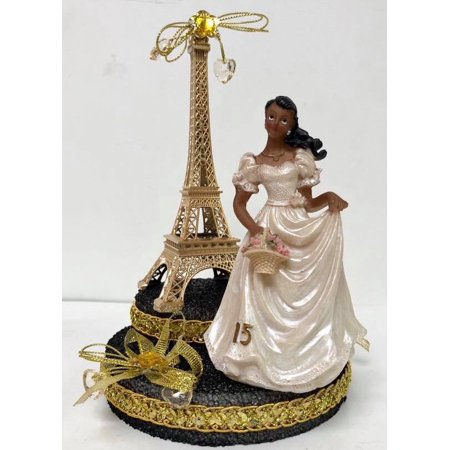 Paris Eiffel Tower Paris Theme Ethnic Cake Topper Mis Quince Años Gold 7.5