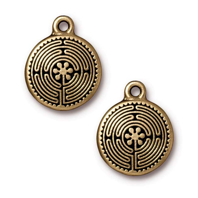 Antiqued 22K Gold Plated Labyrinth Pendant Charm 21mm (1)