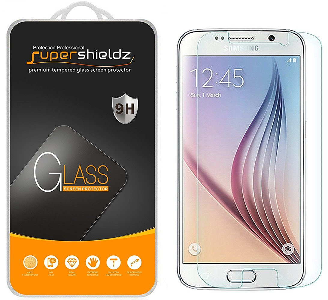 [2-Pack] Supershieldz Samsung Galaxy S6 Tempered Glass Screen Protector, Anti-Scratch, Anti-Fingerprint, Bubble Free