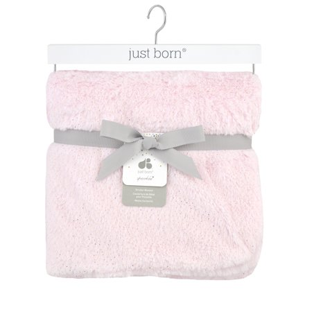 Just Born Sparkle Plush Nursery Blanket Pink