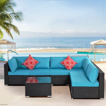 Clearance! 7-Piece Patio Bistro Set, PE Rattan Wicker Patio Furniture Set, Outdoor Conversation Sets with Glass Coffee Table, Sectional Sofa Set for Backyard Porch Garden Balcony Lawn Poolside, Q13011
