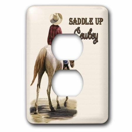 Clover Saddle Plug (3dRose Saddle Up Cowboy Western Theme Painting - 2 Plug Outlet Cover)