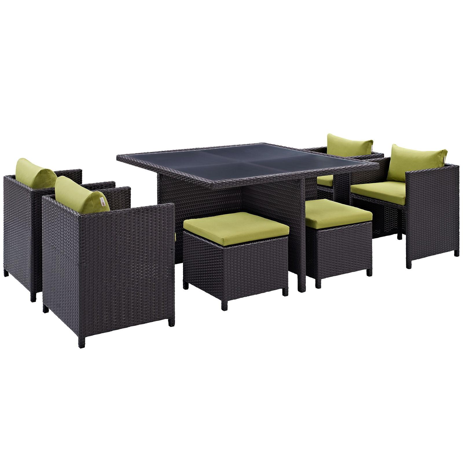 Modern Contemporary 9 Pcs Outdoor Patio Dining Set, Green Plastic