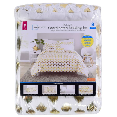 Mainstays Gold Dot Bed in a Bag Bedding, Full