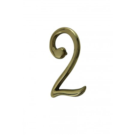Bright Solid Brass 3   Address House Number 2 Pin Mount   Renovators Supply