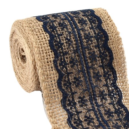 "Burlap Ribbon Roll with Navy Blue Lace 2.4"" Width 2.2 Yards Long for Party Wedding Cake Holiday Craft Decoration"
