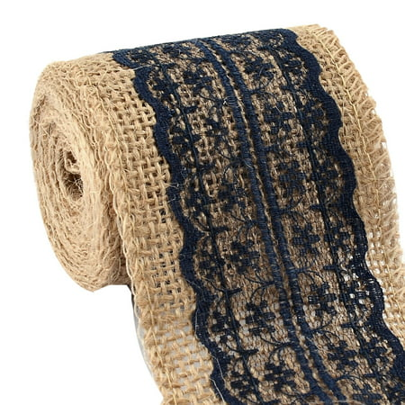 Burlap Ribbon Roll with Navy Blue Lace 2.4