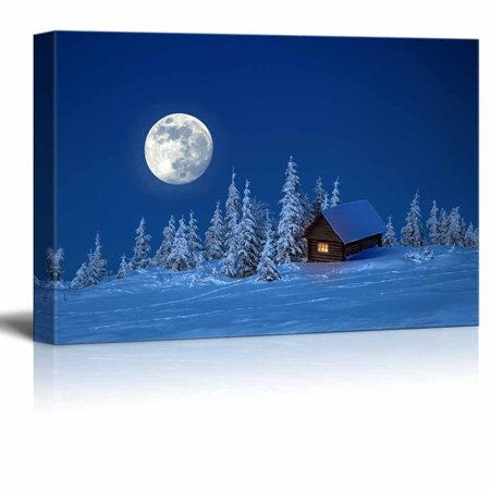 - Canvas Prints Wall Art - Beautiful Scenery/Landscape Wooden House in Winter Forest under the Bright Full Moon | Modern Wall Decor/Home Decoration - 24