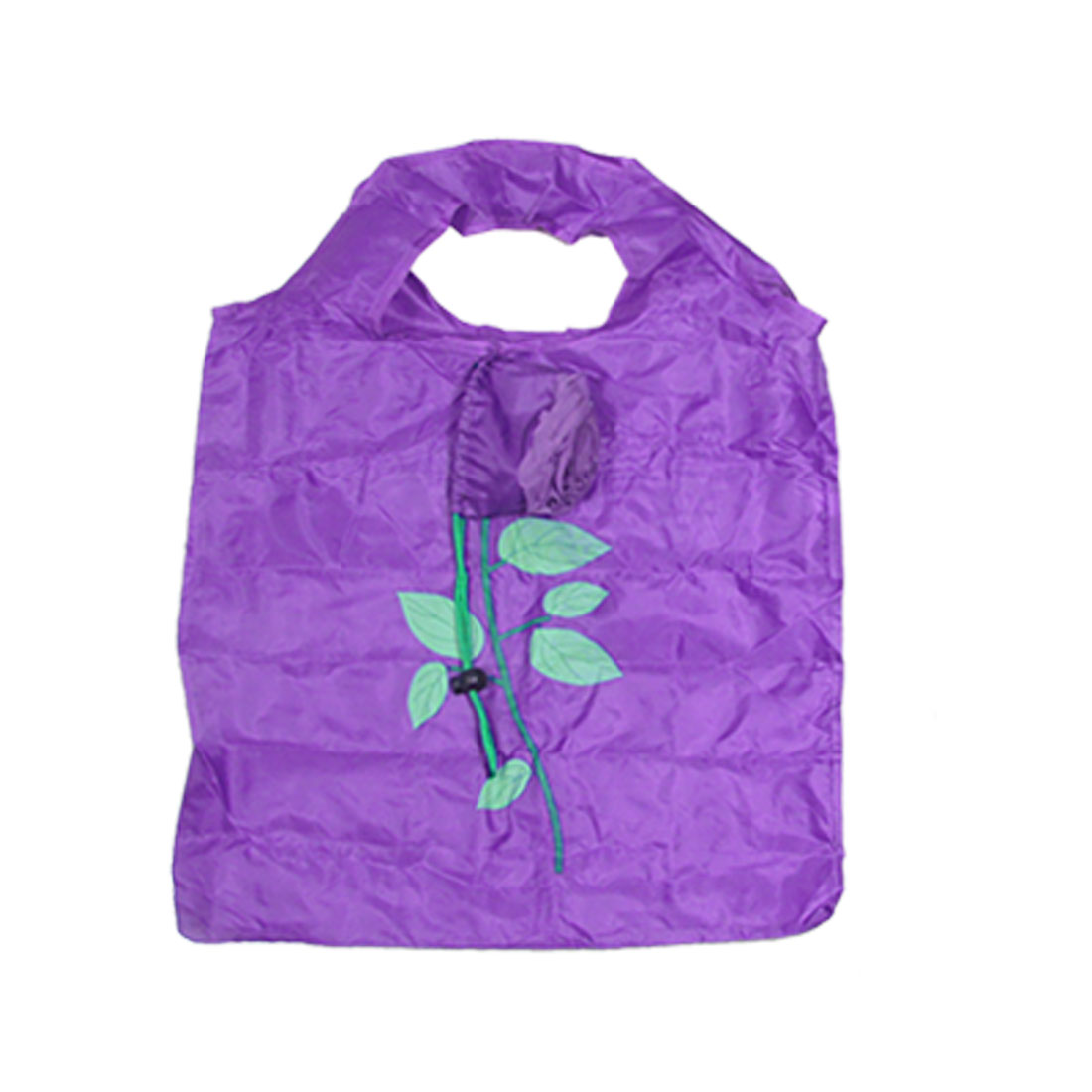 Supermarket Shopping Nylon Purple Rose Tote Handbag