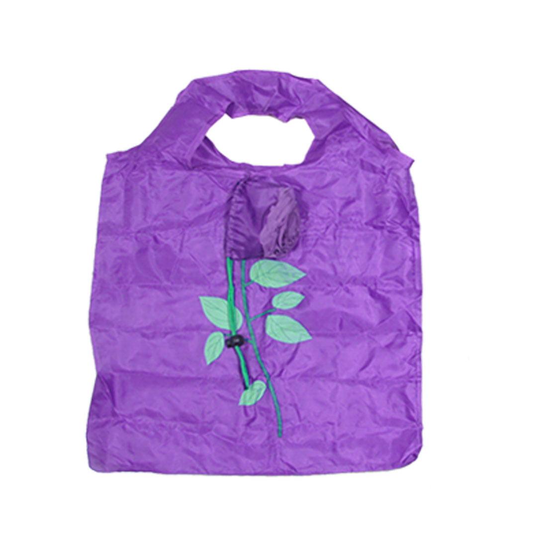 Supermarket Shopping Nylon Purple Rose Tote Handbag