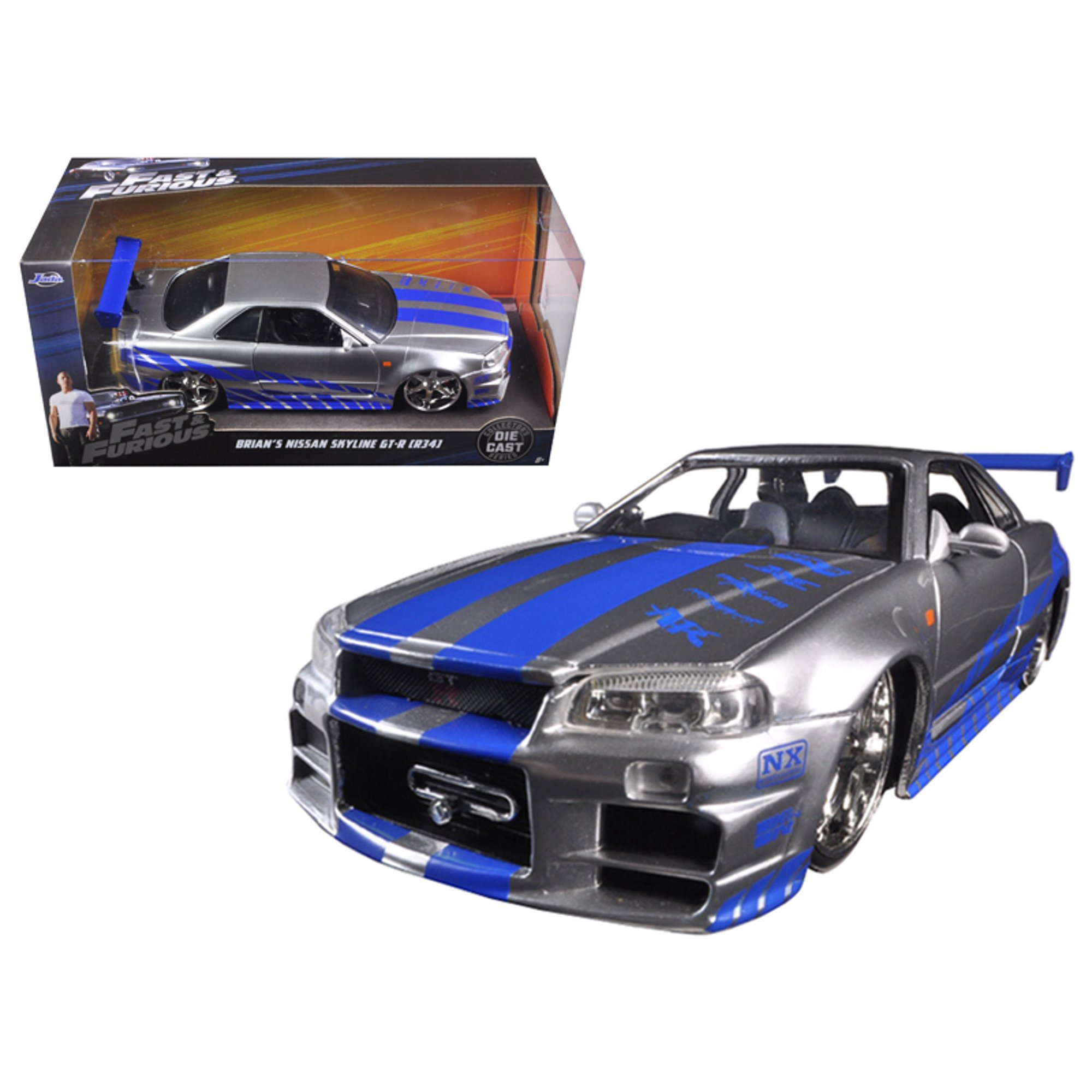 Brian S Nissan Gtr Skyline R34 Silver Blue Fast Furious Movie 1 24 Diecast Model Car By Jada