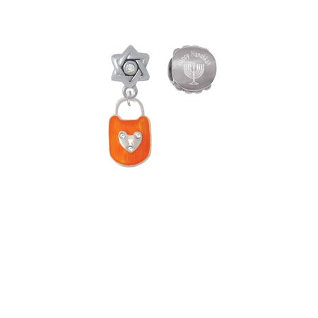 Hot Orange Enamel Lock with Clear Crystals Happy Hanukkah Charm Beads (Set of