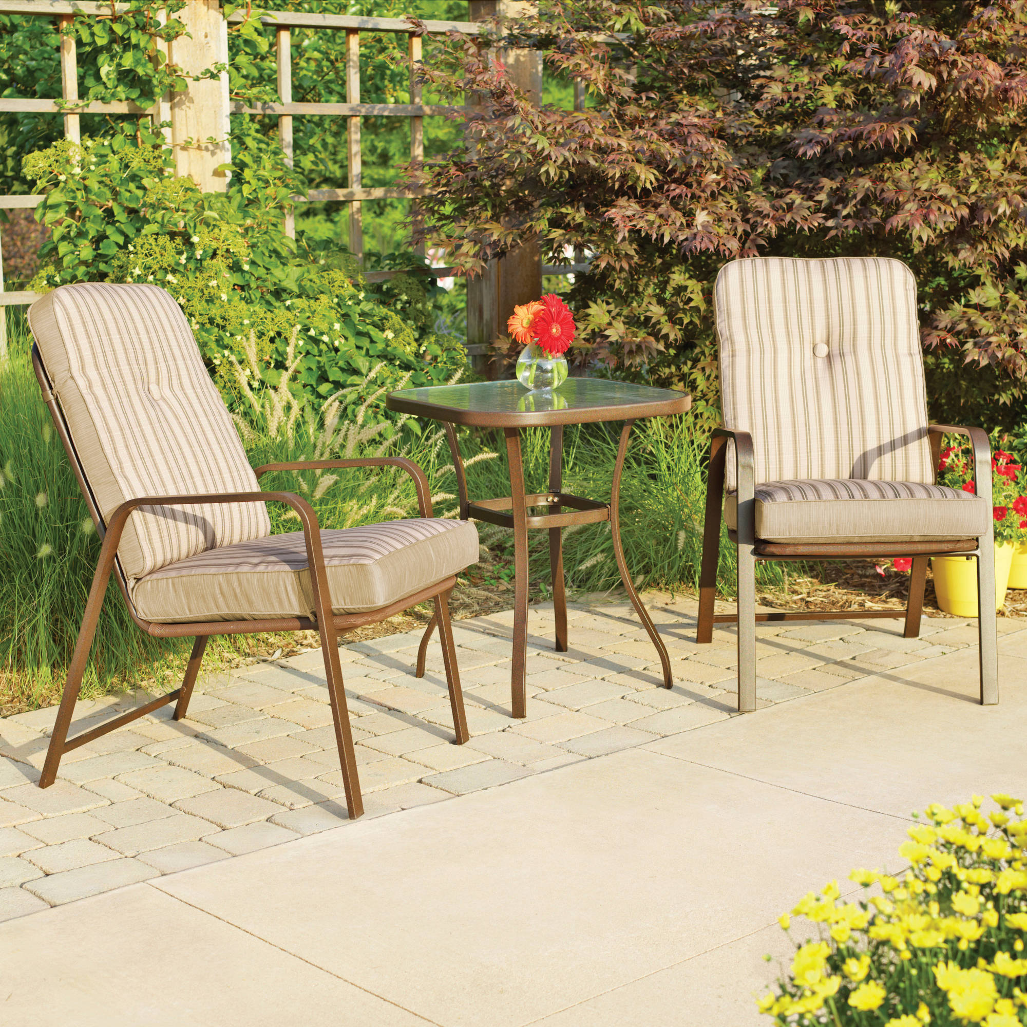 Mainstays Lawson Ridge 3 Piece Outdoor Bistro Set Seats 2