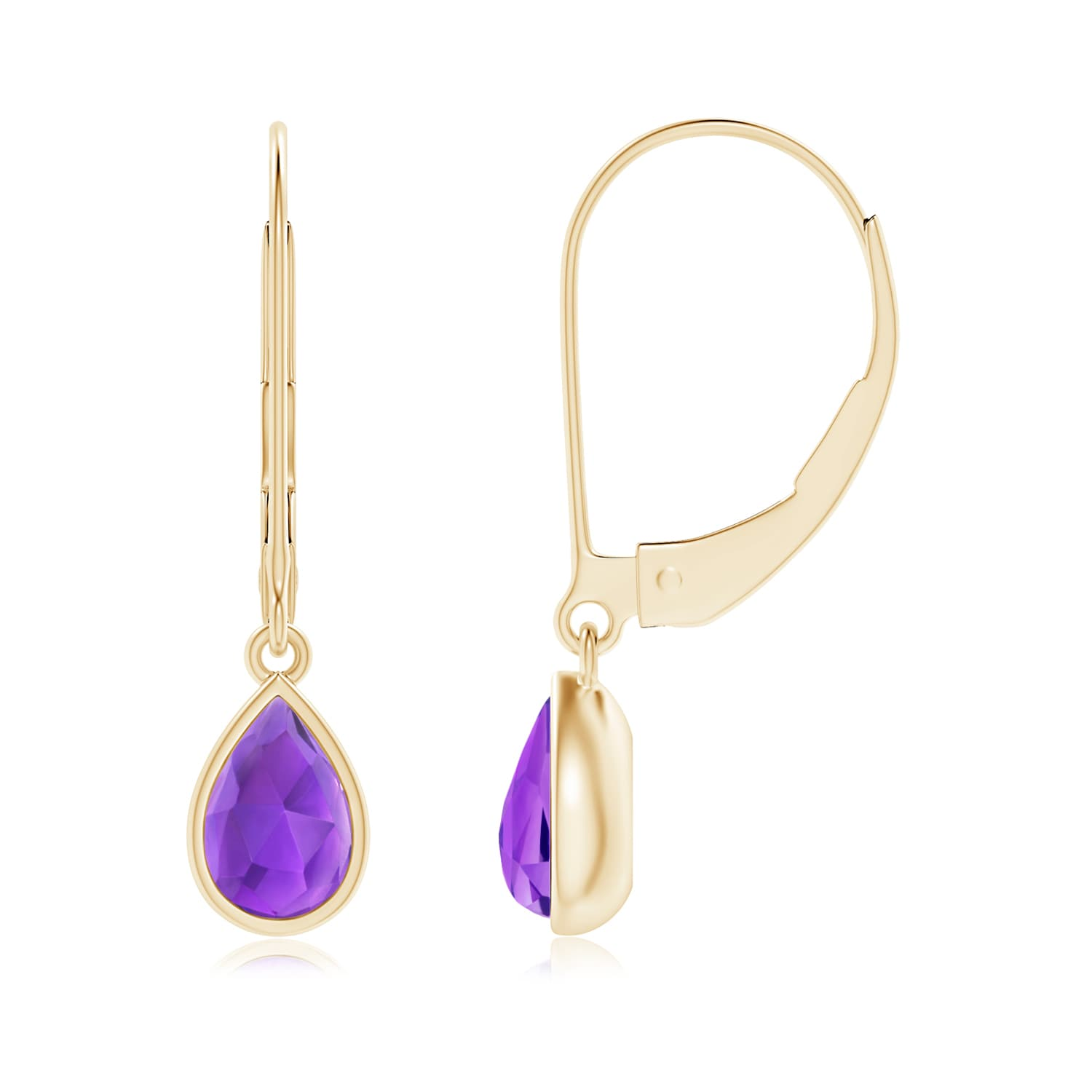 Angara Pear Shaped Amethyst Leverback Earrings in Rose Gold 317coISA