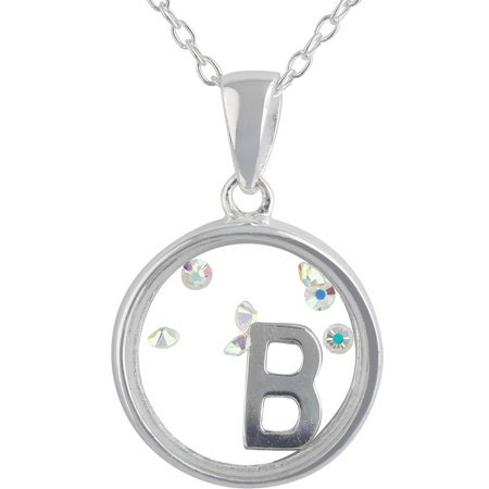 """Crystal Charm Sterling Silver Initial """"B"""" Pendant, 18"""""""