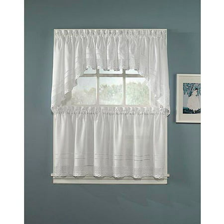 CHF & You Crochet Tailored Kitchen Curtains, Set of 2
