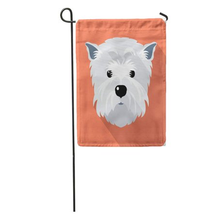 LADDKE Westie Dog West Highland White Terrier Face Flat Funny Silhouette Garden Flag Decorative Flag House Banner 12x18 inch