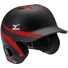 Mizuno Mvp Two Tone Batters Helmet With Facemask Black Red