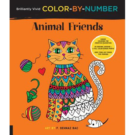 Brilliantly Vivid Color-by-Number: Animal Friends : Guided coloring for creative relaxation--30 original designs + 4 full-color bonus prints--Easy tear-out pages for framing