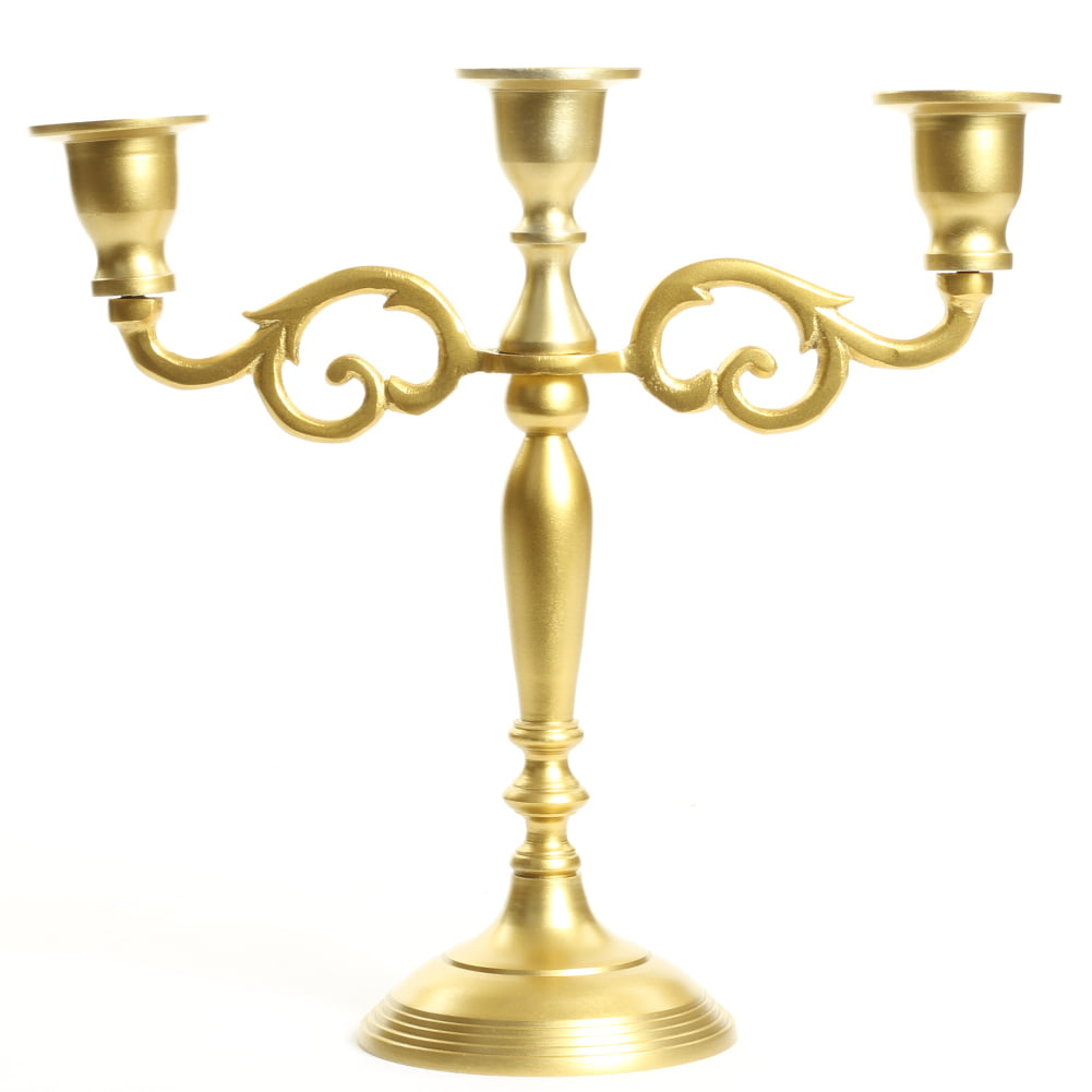 Koyal Wholesale 3 Arm Metal Candelabra Gold Candle Holder ...