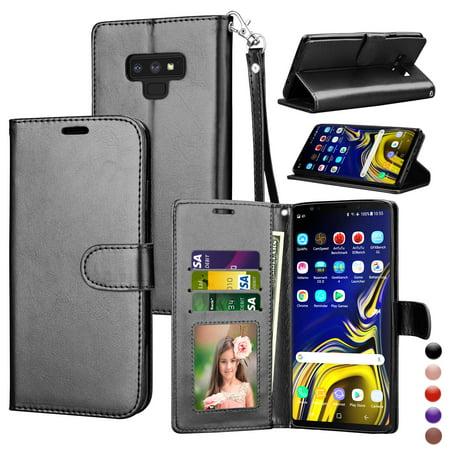 44d3456f6f1f Njjex Wallet Case Cover Galaxy Note 9, Samsung Note 9 PU Leather Case,  Njjex [Wrist Strap] Flip Folio [Kickstand ] PU leather wallet case 3  ID&Credit ...