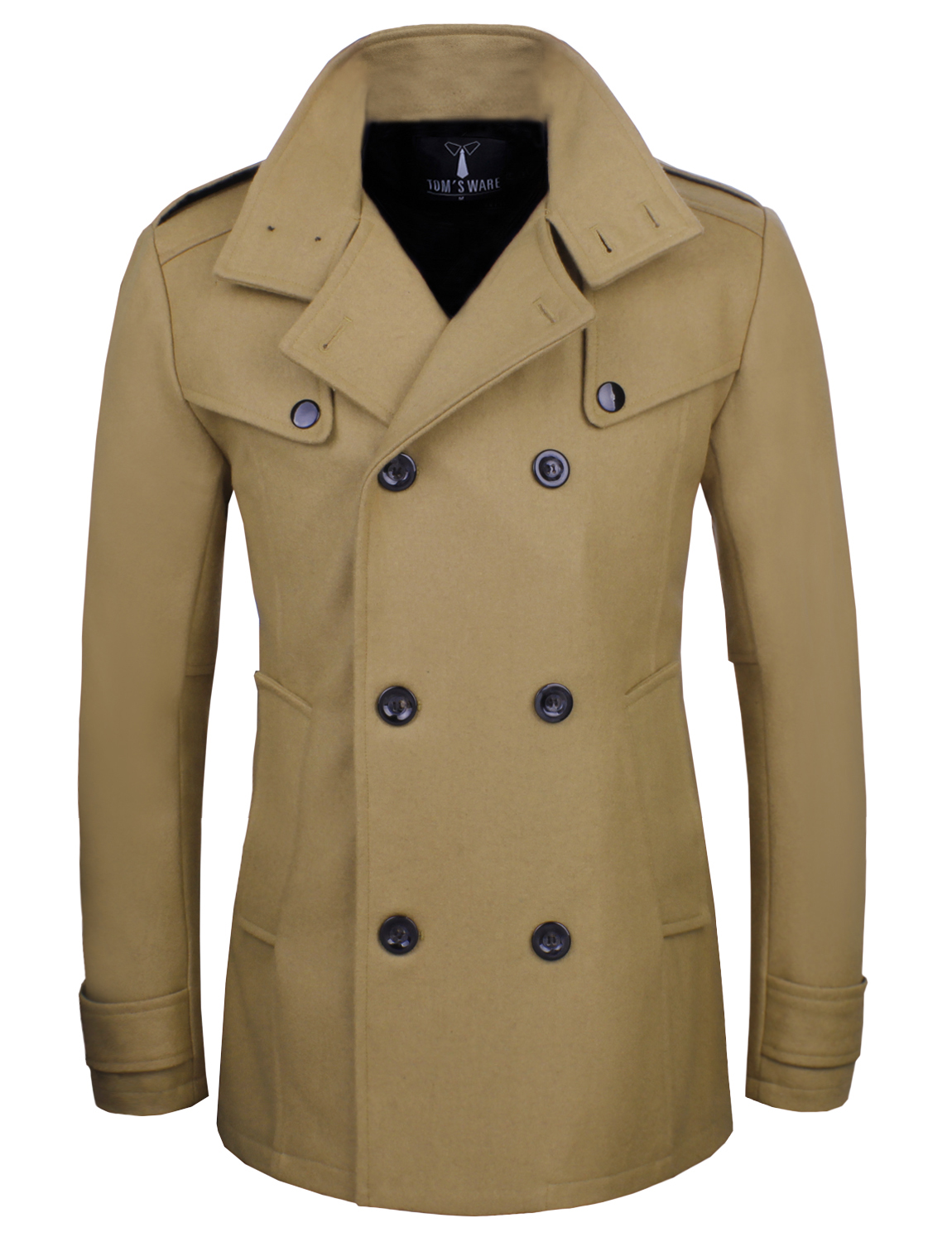 TAM WARE Men Stylish Fashion Classic Wool Double Breasted Pea Coat by TAM WARE