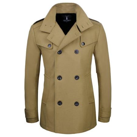 - TAM WARE Men Stylish Fashion Classic Wool Double Breasted Pea Coat