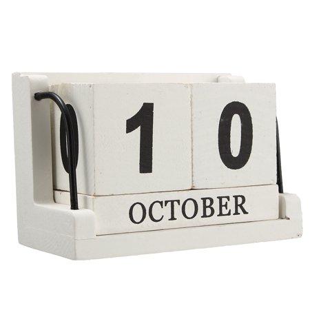 Perpetual Desk Calendar - Retro White Wooden Perpetual Calendar Manual Wood Block Small Desk Office Decor