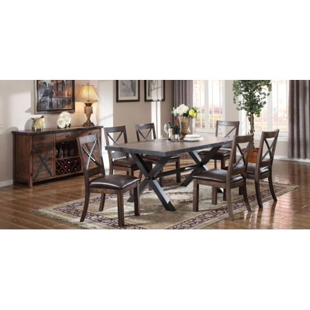 Weathered Cherry Dining Table Set 8Pcs Classic Acme Furniture 72230 Earvin