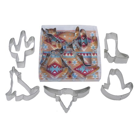 Southwest Cactus, Cowboy Boot & Hat, Longhorn, Coyote Tinplated Steel Cookie Cutter - 1977