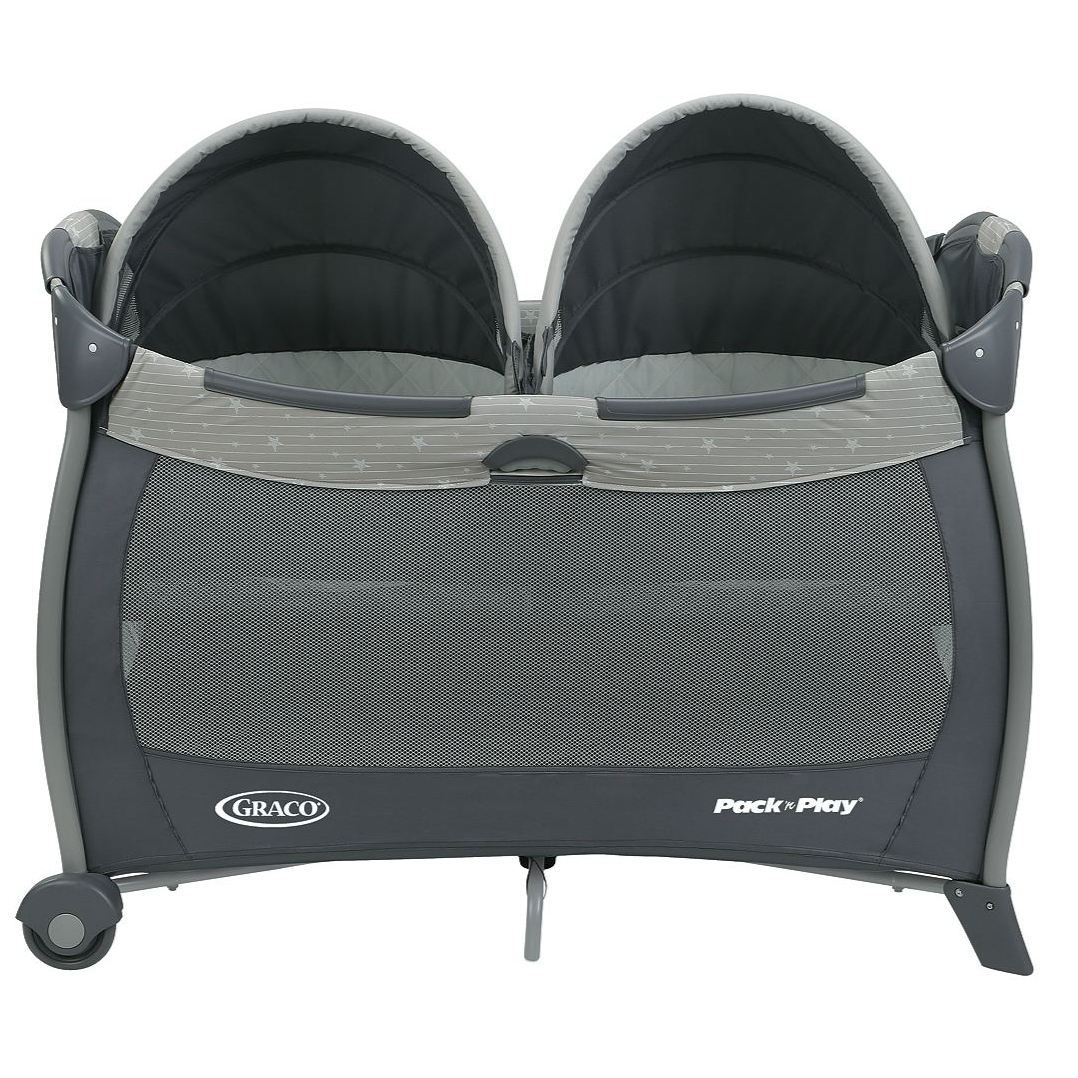 Pack /'n Play Playard Twins Babies Bassinet Play Removable Canopies Mattress Pad