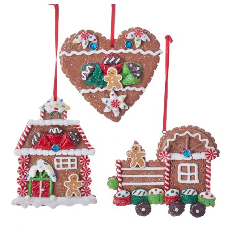 Kurt Adler Gingerbread Cookies Heart House and Train Holiday Ornaments Set of (Gingerbread House Holiday Ornament)