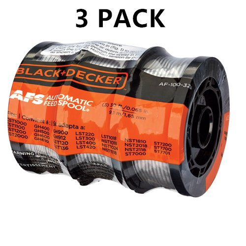 "3 Pack BLACK+DECKER AF-100-3ZP 30ft 0.065"" Replacement Spool"